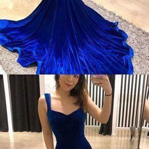 Simple blue velvet long prom dress, mermaid evening dress,Long prom dress, simple party dress,Formal Dress M4688