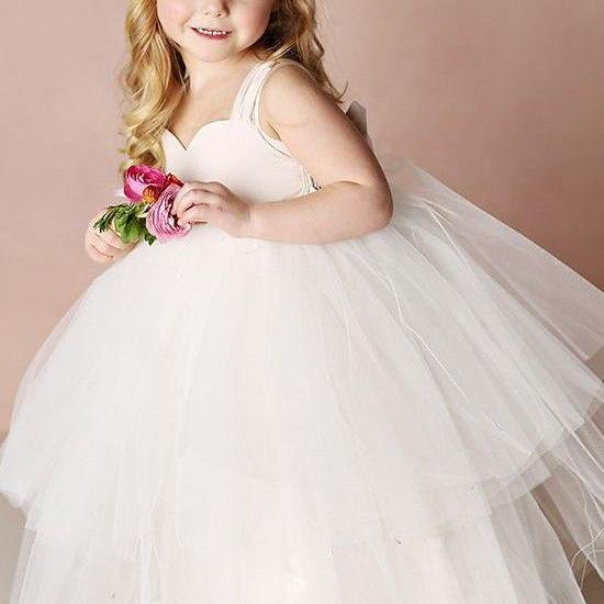 Ball Gown Spaghetti Straps Tiered White Flower Girl Dress with Bow M4800