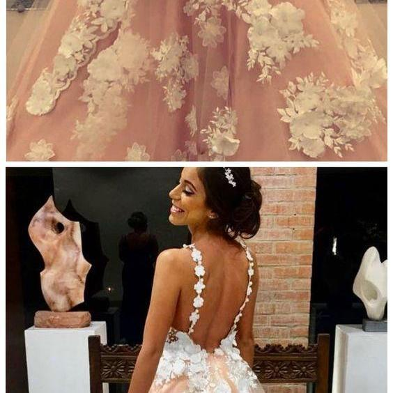PINK V NECK PROM DRESSES TULLE PROM DRESS LACE APPLIQUE LONG PROM DRESSES EVENING DRESSES M5040