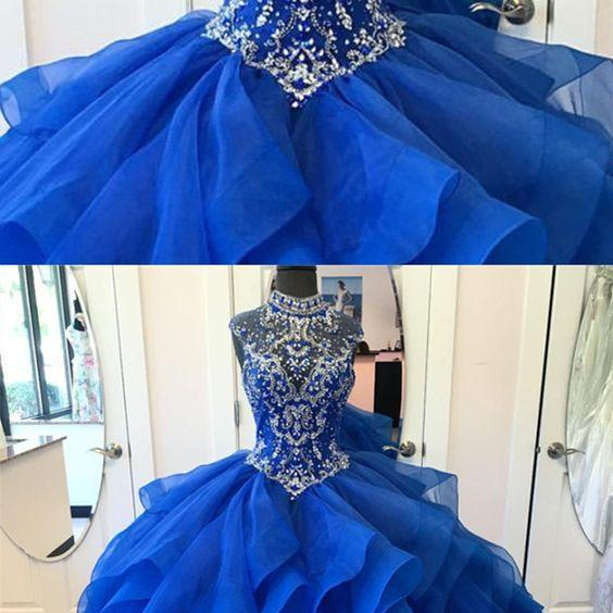 High Neck Crystal Beaded Bodice Corset Organza Layered Quinceanera Dresses Ball Gowns 2018 M5041