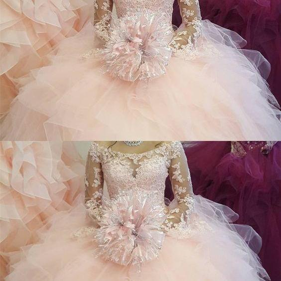 Elegant Lace Long Sleeves Organza Ruffles Ballgowns Quinceanera Dresses M5401