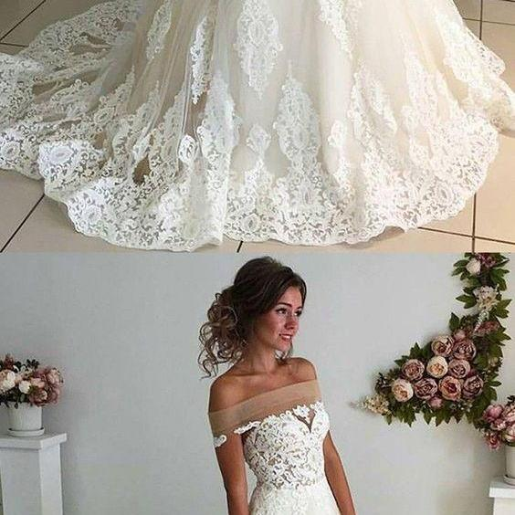 Fashion A Line Off Shoulder Ivory Lace Tulle Wedding/Prom Dress M5404