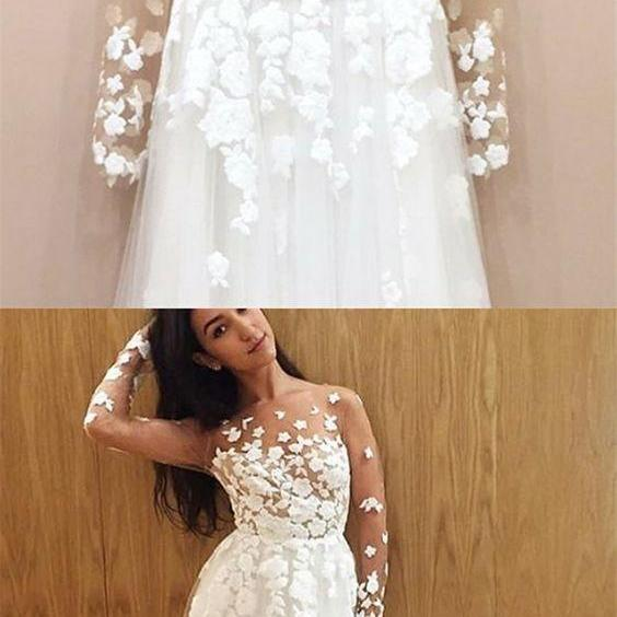 A-Line Illusion Round Neck Long Sleeves Sweep Train Wedding Dress with Appliques M6198