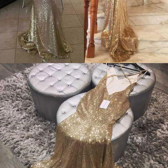 gold backless long prom dresses, dresses for women, v neck prom dresses , women's dresses, long mermaid long prom dresses M6199