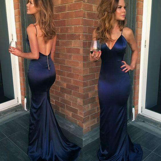 Spaghetti Straps Satin V-Neck Prom Dress,Mermaid Floor Length Long Evening Dress M6627