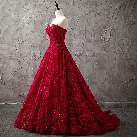 Burgundy lace sequins long prom dress, burgundy evening dress M7100
