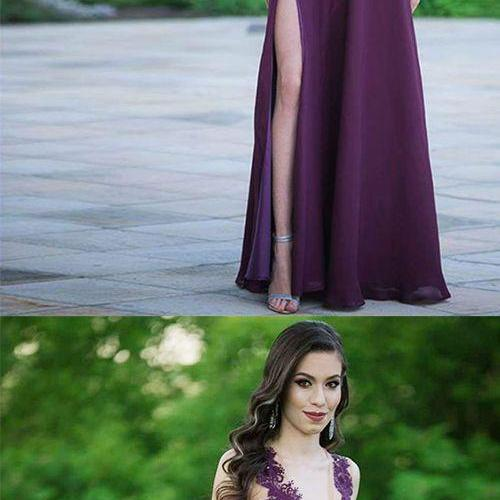 A-Line Deep V-Neck Floor-Length Grape Chiffon Prom Dress with Lace Beading M7101