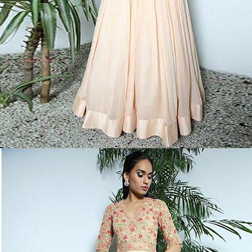 A-Line V-Neck Half Sleeves Pink Chiffon Prom Dress with Appliques M7102