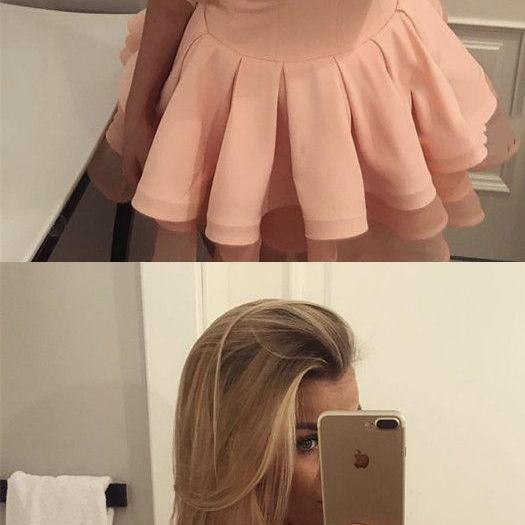 Short Coral Lace Cap Sleeves Ruffle Hem Homecoming Dresses M7117