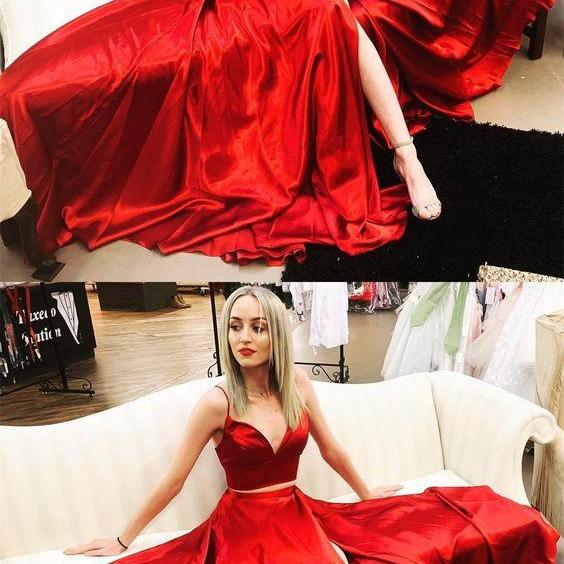 red homecoming dress,two pieces prom dress,sweetheart neck prom dress,formal gowns M7119