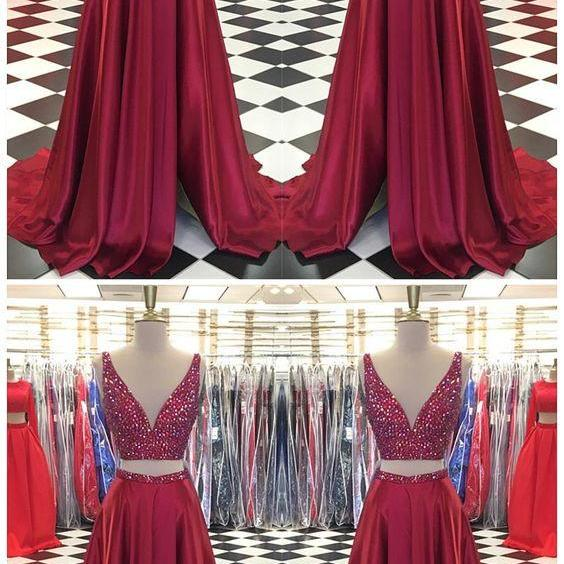 Sexy Sleeveless Prom Dress, Two Piece Prom Dresses,Beaded Long Evening Dress M8049