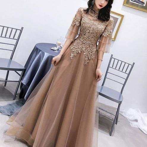 Champagne high neck tulle lace long prom dress, champagne evening dress M8051
