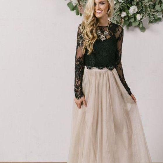 Black Lace Prom Dress,Two Pieces Long Sleeve Prom Dress,Custom Made Evening Dress M8055