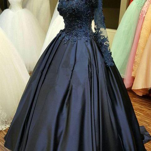 Navy Blue Satin Long Sleeve Lace Applique Formal Prom Dress, Evening Dress M8056