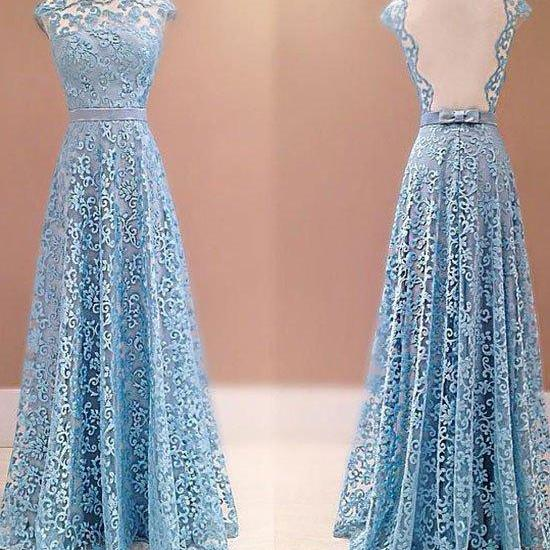 prom dresses,blue a-line round neck lace long prom dress, lace bridesmaid dress