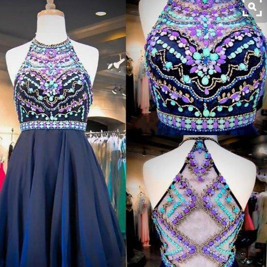 homecoming dresses,dark navy blue a-line beading short prom dress, homecoming dresses